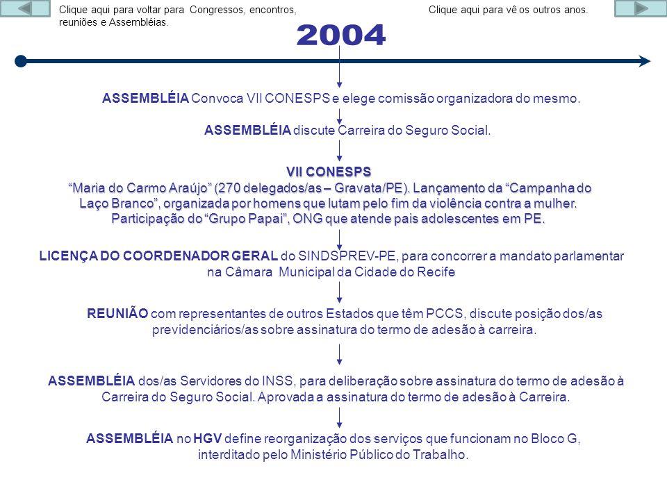 ASSEMBLÉIA Convoca VII CONESPS e elege comissão organizadora do mesmo. ASSEMBLÉIA discute Carreira do Seguro Social. VII CONESPS Maria do Carmo Araújo