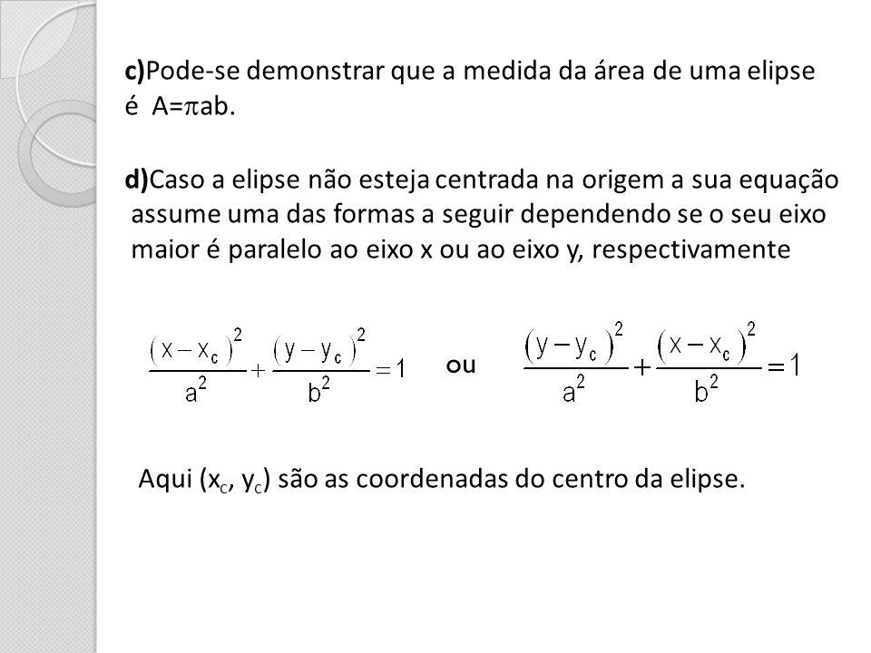 c)Pode-se demonstrar que a medida da área de uma elipse é A= ab. d)Caso a elipse não esteja centrada na origem a sua equação assume uma das formas a s