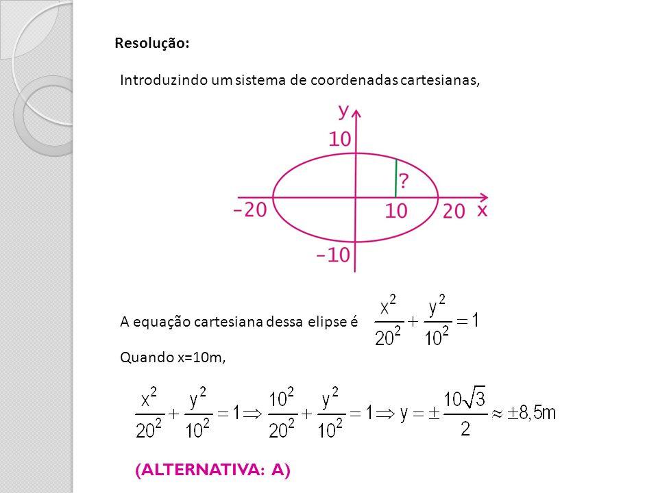 Resolução: Introduzindo um sistema de coordenadas cartesianas, A equação cartesiana dessa elipse é Quando x=10m, (ALTERNATIVA: A)