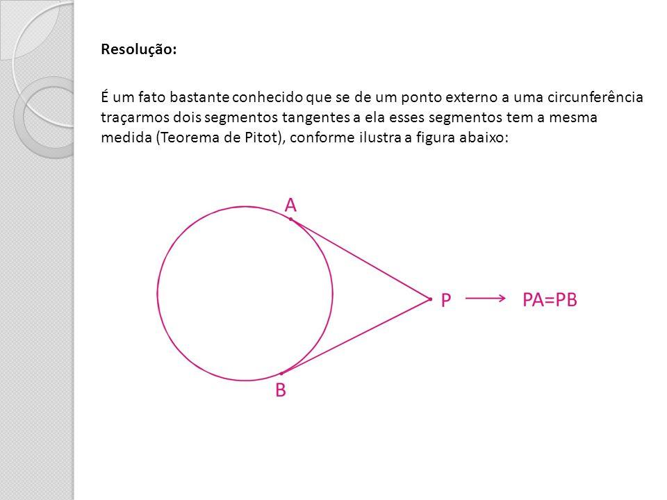 Resolução: É um fato bastante conhecido que se de um ponto externo a uma circunferência traçarmos dois segmentos tangentes a ela esses segmentos tem a