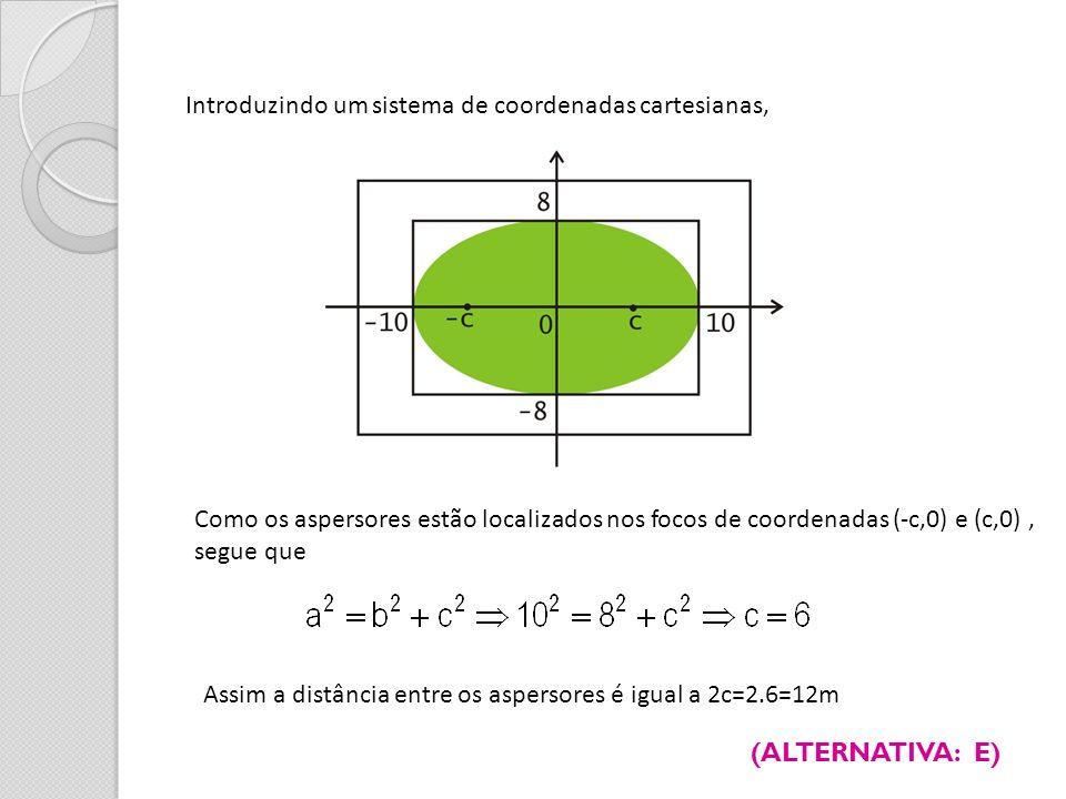 Introduzindo um sistema de coordenadas cartesianas, Como os aspersores estão localizados nos focos de coordenadas (-c,0) e (c,0), segue que Assim a di