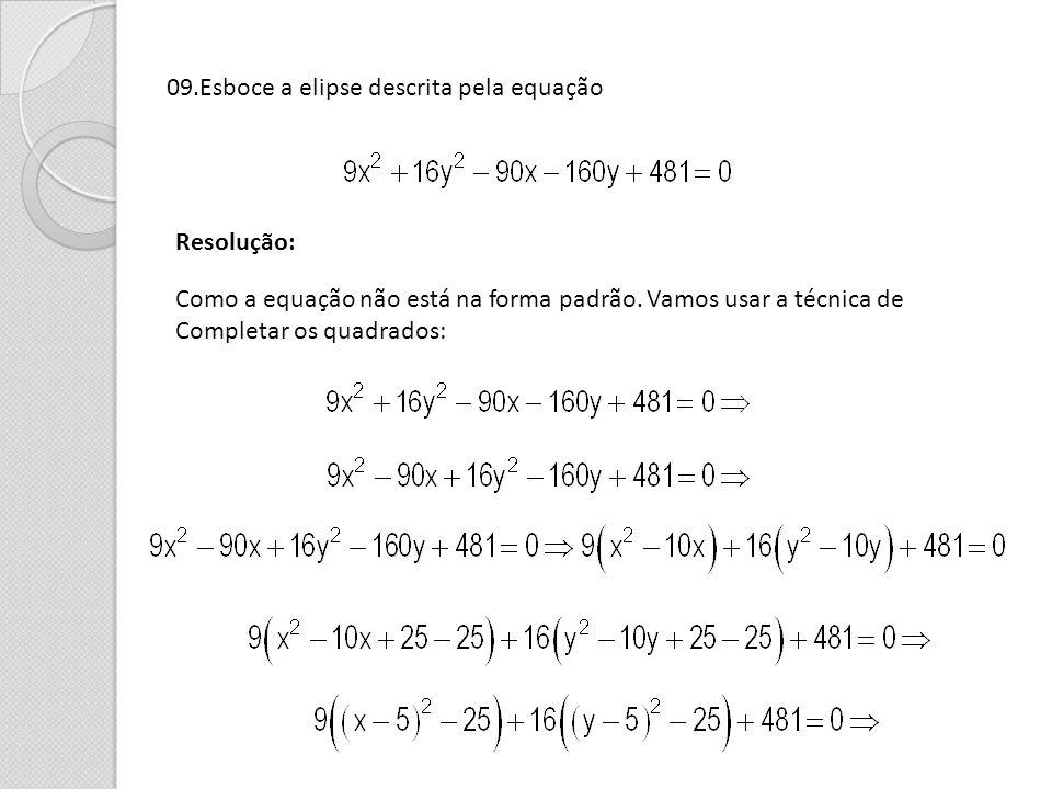 09.Esboce a elipse descrita pela equação Resolução: Como a equação não está na forma padrão. Vamos usar a técnica de Completar os quadrados: