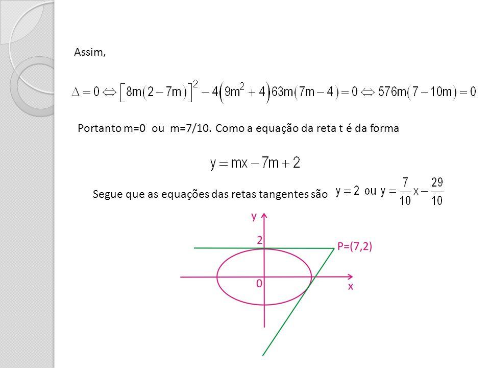 Assim, Portanto m=0 ou m=7/10. Como a equação da reta t é da forma Segue que as equações das retas tangentes são