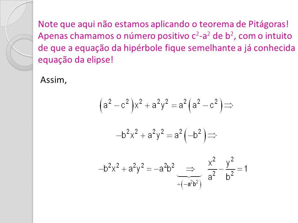 Note que aqui não estamos aplicando o teorema de Pitágoras! Apenas chamamos o número positivo c 2 -a 2 de b 2, com o intuito de que a equação da hipér