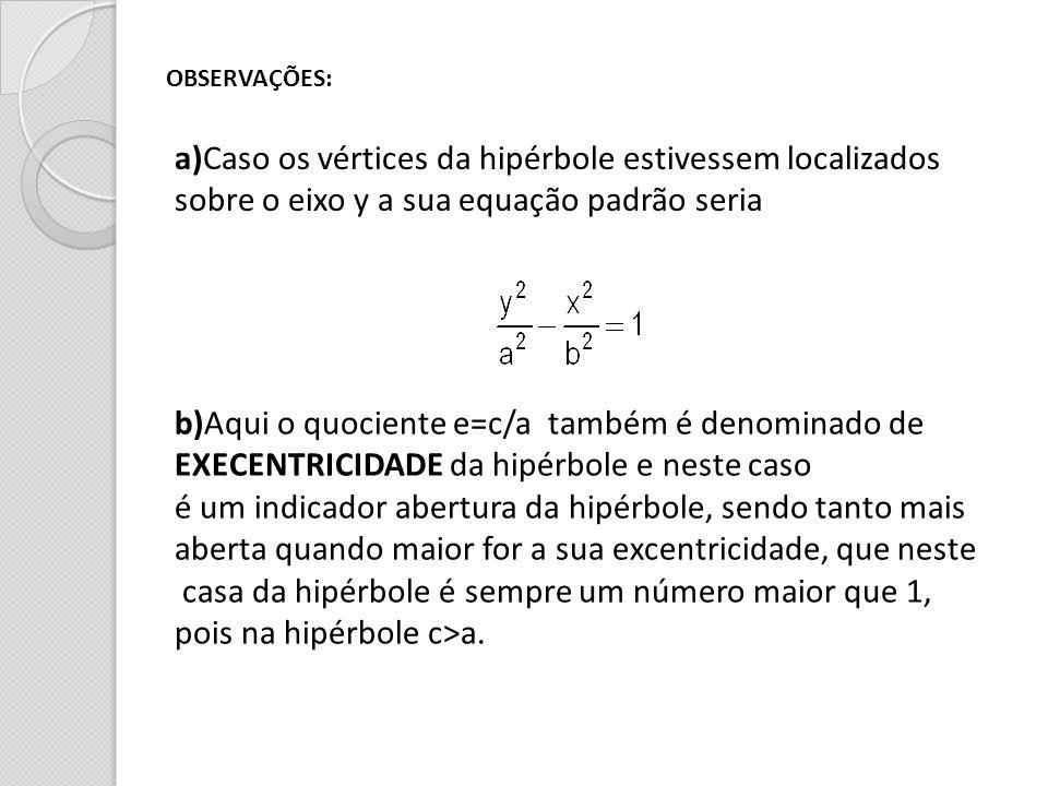 OBSERVAÇÕES: a)Caso os vértices da hipérbole estivessem localizados sobre o eixo y a sua equação padrão seria b)Aqui o quociente e=c/a também é denomi