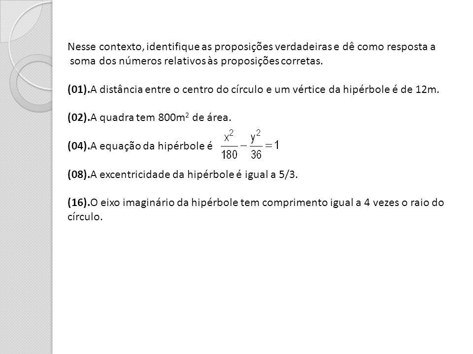 Nesse contexto, identifique as proposições verdadeiras e dê como resposta a soma dos números relativos às proposições corretas. (01).A distância entre