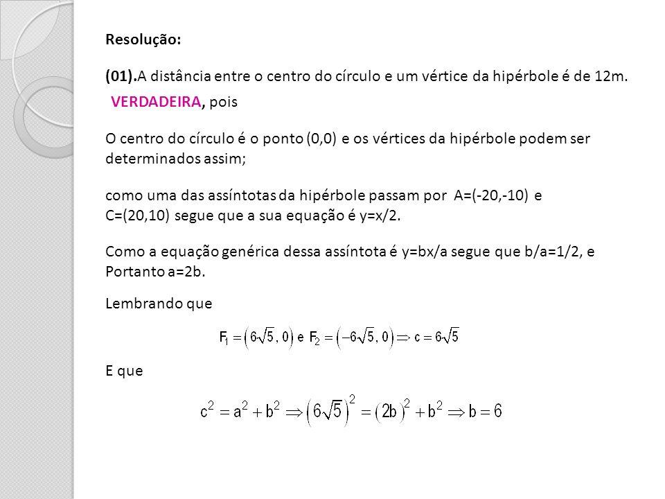 Resolução: (01).A distância entre o centro do círculo e um vértice da hipérbole é de 12m. O centro do círculo é o ponto (0,0) e os vértices da hipérbo