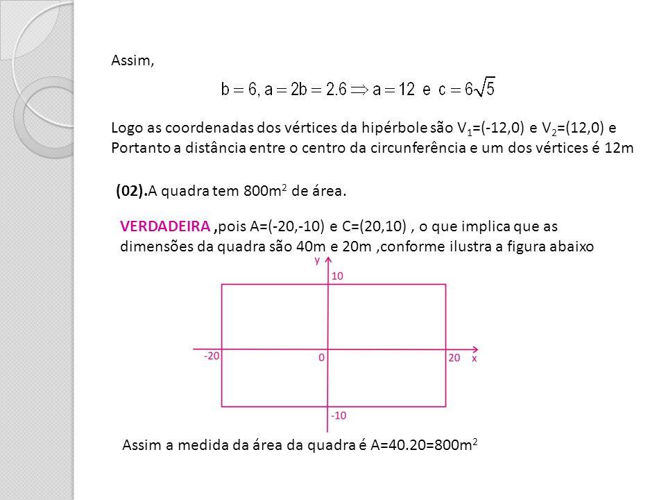 Assim, Logo as coordenadas dos vértices da hipérbole são V 1 =(-12,0) e V 2 =(12,0) e Portanto a distância entre o centro da circunferência e um dos v