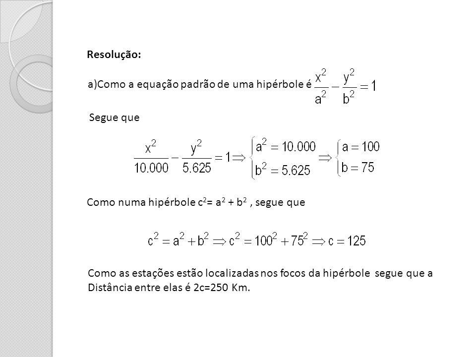 Resolução: a)Como a equação padrão de uma hipérbole é Segue que Como numa hipérbole c 2 = a 2 + b 2, segue que Como as estações estão localizadas nos