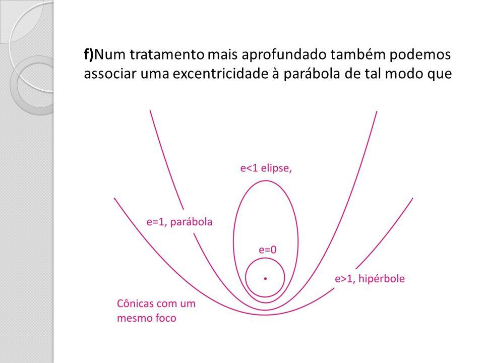 f)Num tratamento mais aprofundado também podemos associar uma excentricidade à parábola de tal modo que