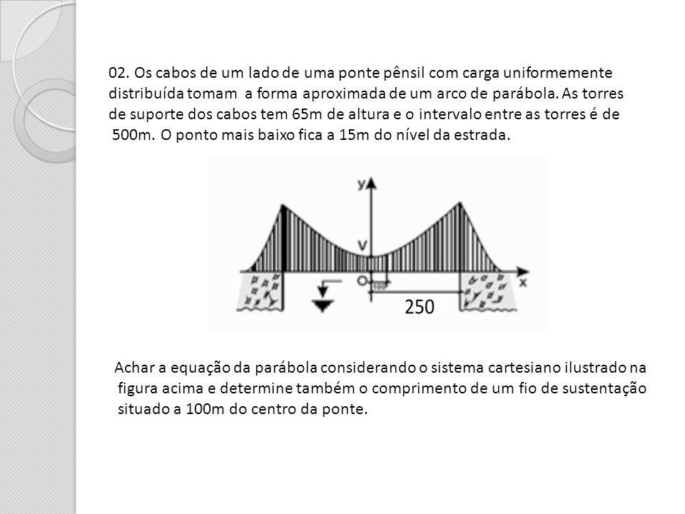 02. Os cabos de um lado de uma ponte pênsil com carga uniformemente distribuída tomam a forma aproximada de um arco de parábola. As torres de suporte