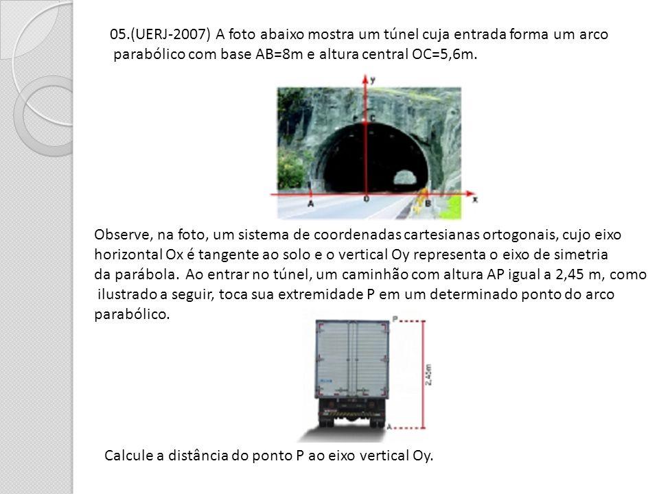 05.(UERJ-2007) A foto abaixo mostra um túnel cuja entrada forma um arco parabólico com base AB=8m e altura central OC=5,6m. Observe, na foto, um siste