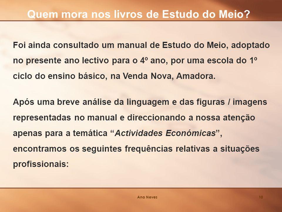 Ana Neves10 Foi ainda consultado um manual de Estudo do Meio, adoptado no presente ano lectivo para o 4º ano, por uma escola do 1º ciclo do ensino básico, na Venda Nova, Amadora.