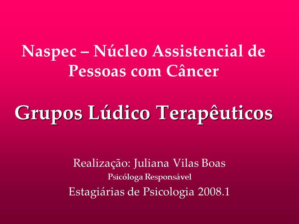 Grupos Lúdico Terapêuticos Naspec – Núcleo Assistencial de Pessoas com Câncer Grupos Lúdico Terapêuticos Realização: Juliana Vilas Boas Psicóloga Resp