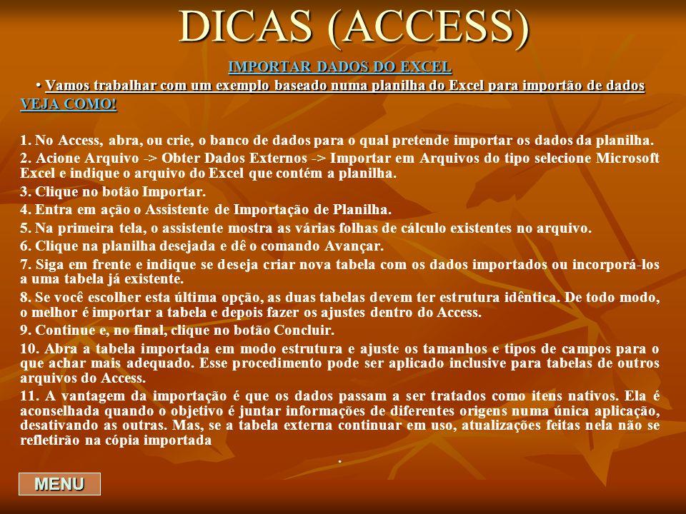 DICAS (ACCESS) IMPORTAR DADOS DO EXCEL Vamos trabalhar com um exemplo baseado numa planilha do Excel para importão de dados Vamos trabalhar com um exe
