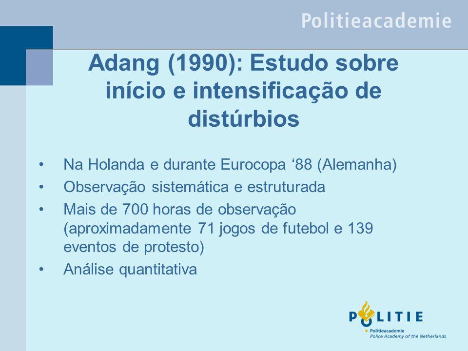 Adang (1990): Estudo sobre início e intensificação de distúrbios Na Holanda e durante Eurocopa 88 (Alemanha) Observação sistemática e estruturada Mais de 700 horas de observação (aproximadamente 71 jogos de futebol e 139 eventos de protesto) Análise quantitativa