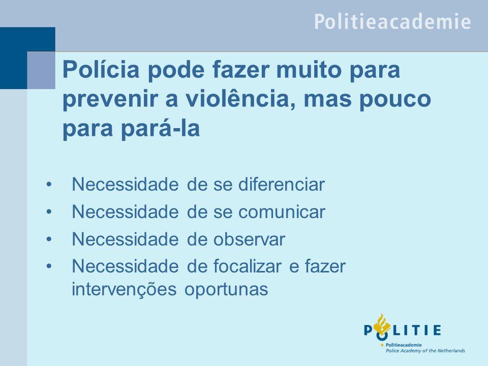 Polícia pode fazer muito para prevenir a violência, mas pouco para pará-la Necessidade de se diferenciar Necessidade de se comunicar Necessidade de observar Necessidade de focalizar e fazer intervenções oportunas