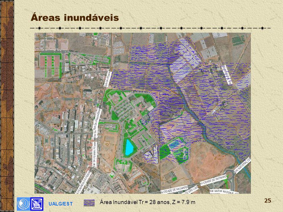 UALG/EST 25 Áreas inundáveis Área Inundável Tr = 28 anos, Z = 7.9 m