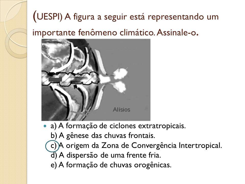 ( UESPI) A figura a seguir está representando um importante fenômeno climático. Assinale-o. a) A formação de ciclones extratropicais. b) A gênese das