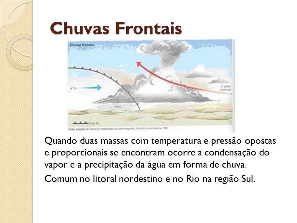 Chuvas Frontais Quando duas massas com temperatura e pressão opostas e proporcionais se encontram ocorre a condensação do vapor e a precipitação da ág