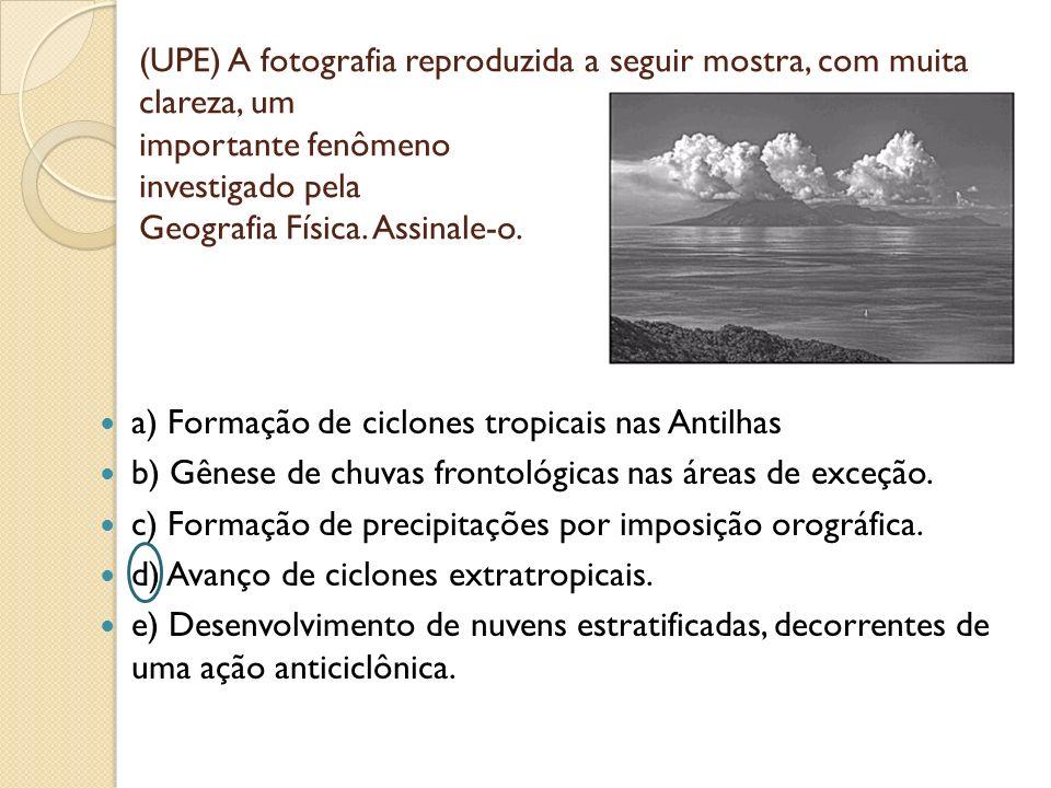 (UPE) A fotografia reproduzida a seguir mostra, com muita clareza, um importante fenômeno investigado pela Geografia Física. Assinale-o. a) Formação d