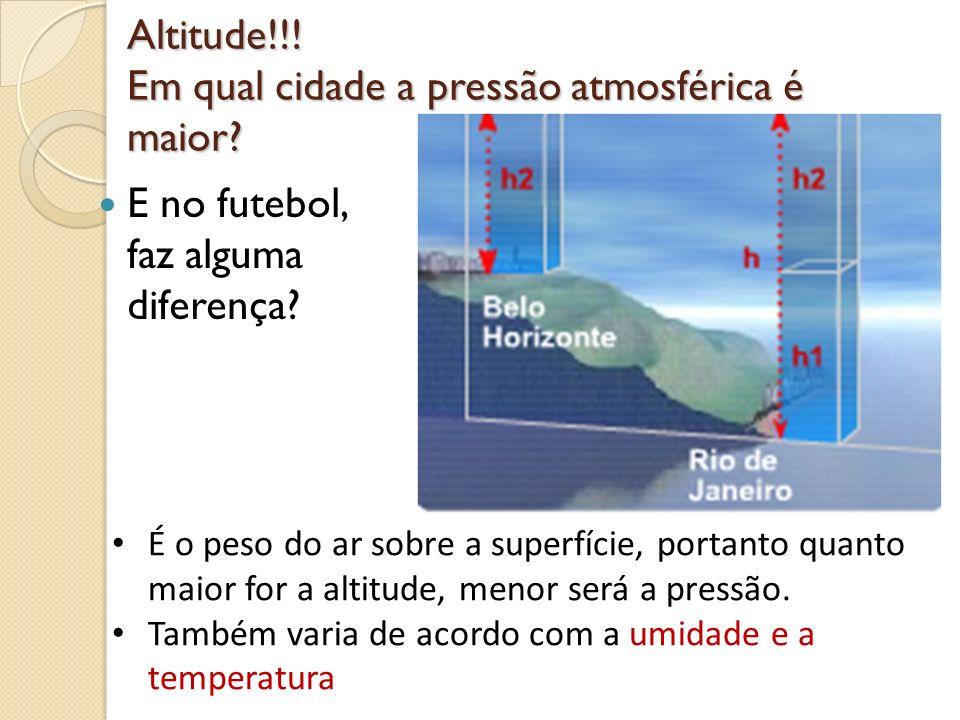 Altitude!!! Em qual cidade a pressão atmosférica é maior? E no futebol, faz alguma diferença? É o peso do ar sobre a superfície, portanto quanto maior