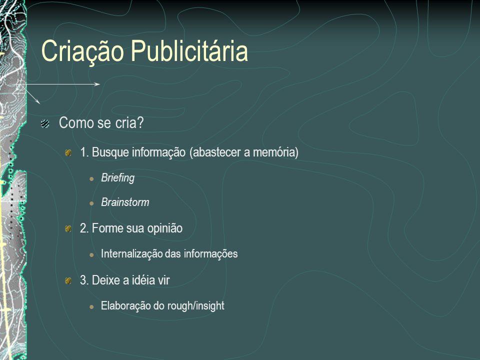 Criação Publicitária Como se cria? 1. Busque informação (abastecer a memória) Briefing Brainstorm 2. Forme sua opinião Internalização das informações
