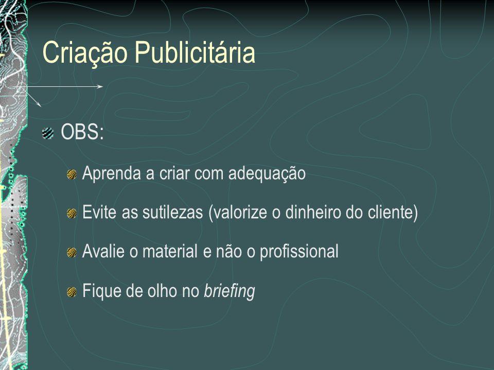 Criação Publicitária OBS: Aprenda a criar com adequação Evite as sutilezas (valorize o dinheiro do cliente) Avalie o material e não o profissional Fiq