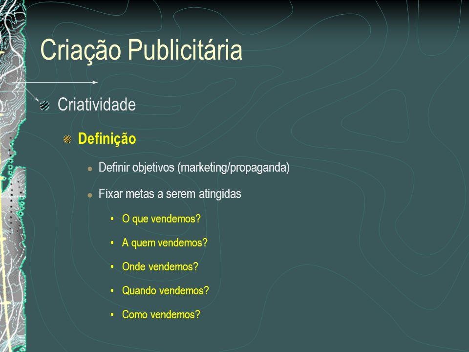 Criação Publicitária Criatividade Definição Definir objetivos (marketing/propaganda) Fixar metas a serem atingidas O que vendemos? A quem vendemos? On
