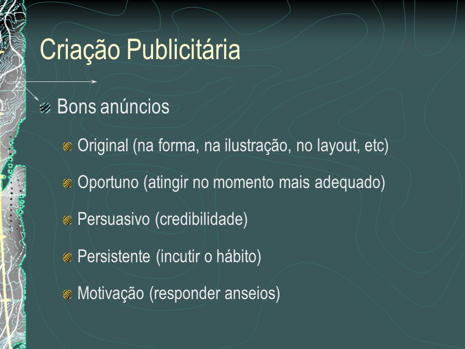 Criação Publicitária Bons anúncios Original (na forma, na ilustração, no layout, etc) Oportuno (atingir no momento mais adequado) Persuasivo (credibil