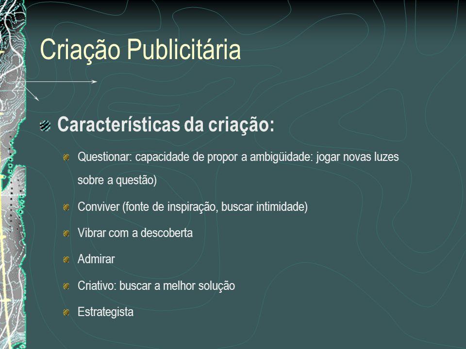 Criação Publicitária Características da criação: Questionar: capacidade de propor a ambigüidade: jogar novas luzes sobre a questão) Conviver (fonte de