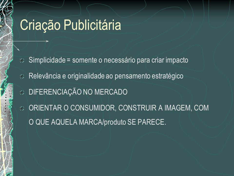 Criação Publicitária Simplicidade = somente o necessário para criar impacto Relevância e originalidade ao pensamento estratégico DIFERENCIAÇÃO NO MERC