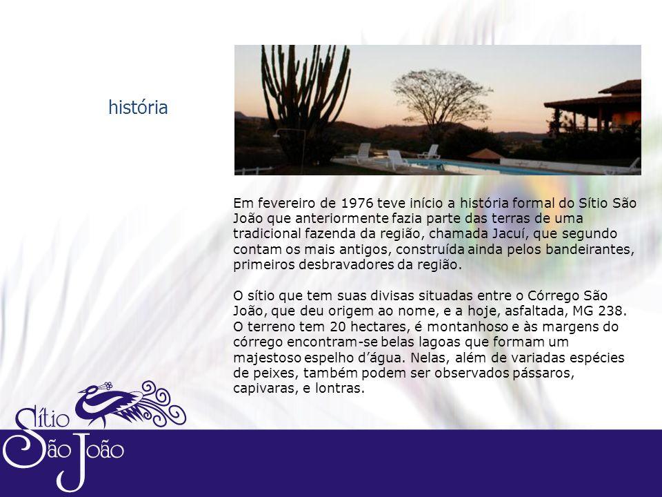 Em fevereiro de 1976 teve início a história formal do Sítio São João que anteriormente fazia parte das terras de uma tradicional fazenda da região, chamada Jacuí, que segundo contam os mais antigos, construída ainda pelos bandeirantes, primeiros desbravadores da região.