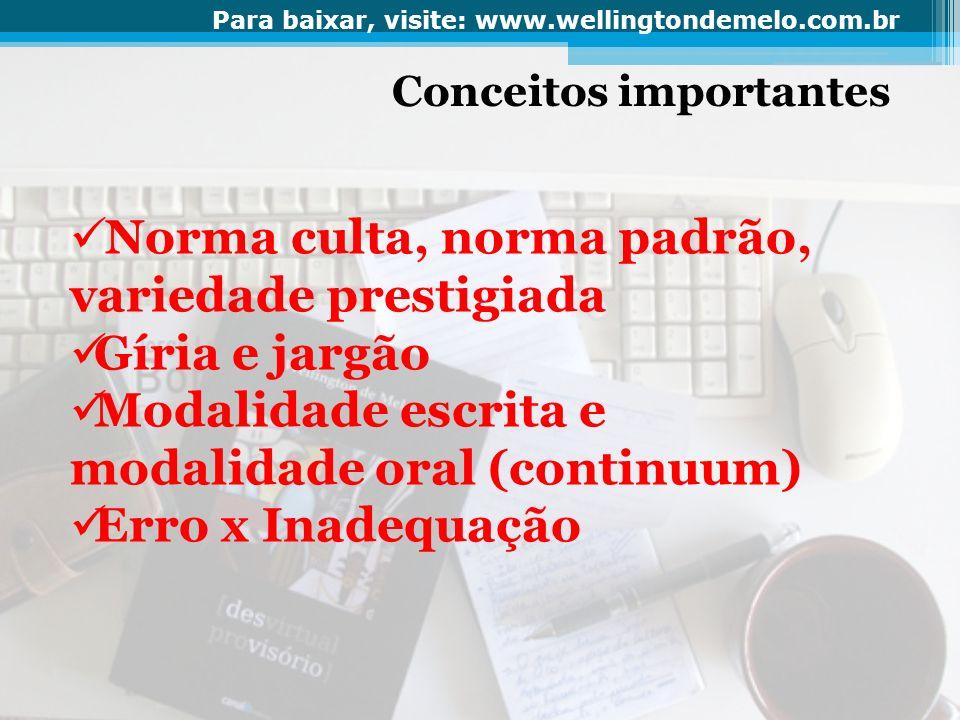 Conceitos importantes Norma culta, norma padrão, variedade prestigiada Gíria e jargão Modalidade escrita e modalidade oral (continuum) Erro x Inadequa