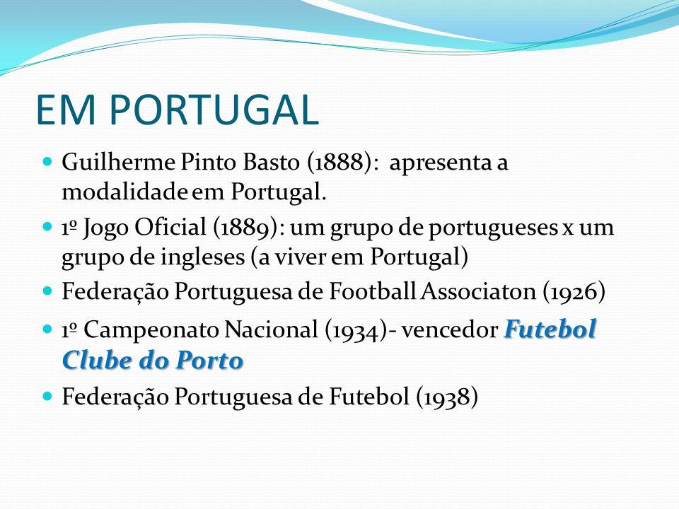 EM PORTUGAL Guilherme Pinto Basto (1888): apresenta a modalidade em Portugal. 1º Jogo Oficial (1889): um grupo de portugueses x um grupo de ingleses (