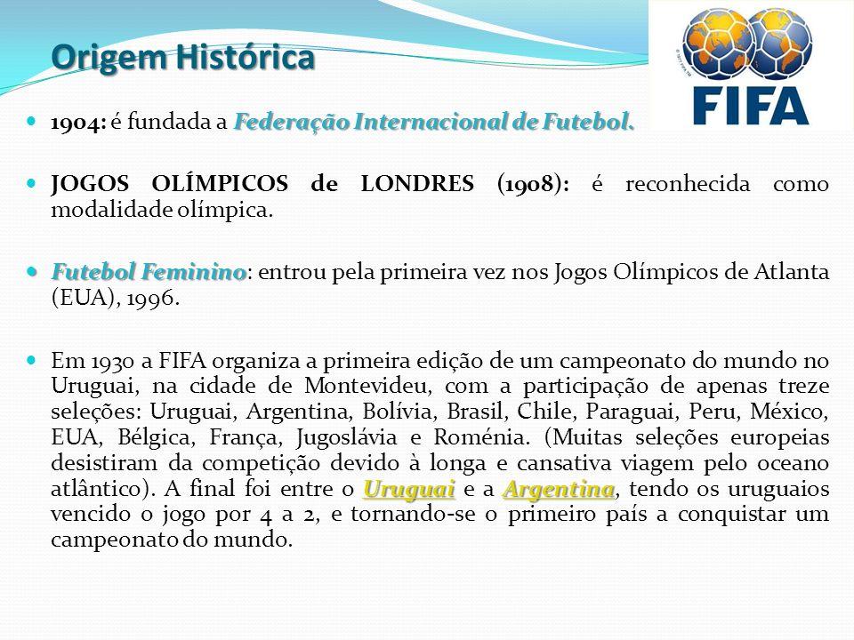 Origem Histórica Federação Internacional de Futebol. 1904: é fundada a Federação Internacional de Futebol. JOGOS OLÍMPICOS de LONDRES (1908): é reconh
