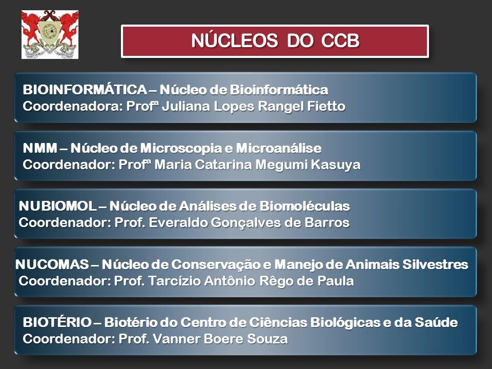 NÚCLEOS DO CCB BIOINFORMÁTICA – Núcleo de Bioinformática Coordenadora: Profª Juliana Lopes Rangel Fietto NMM – Núcleo de Microscopia e Microanálise Co