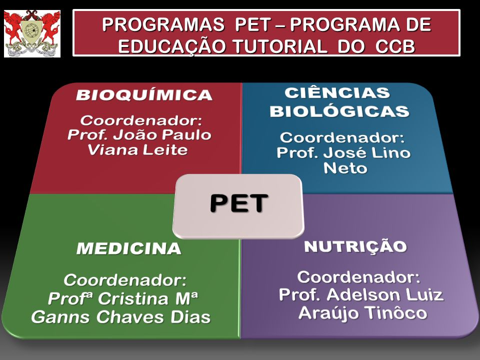 PROGRAMAS PET – PROGRAMA DE EDUCAÇÃO TUTORIAL DO CCB