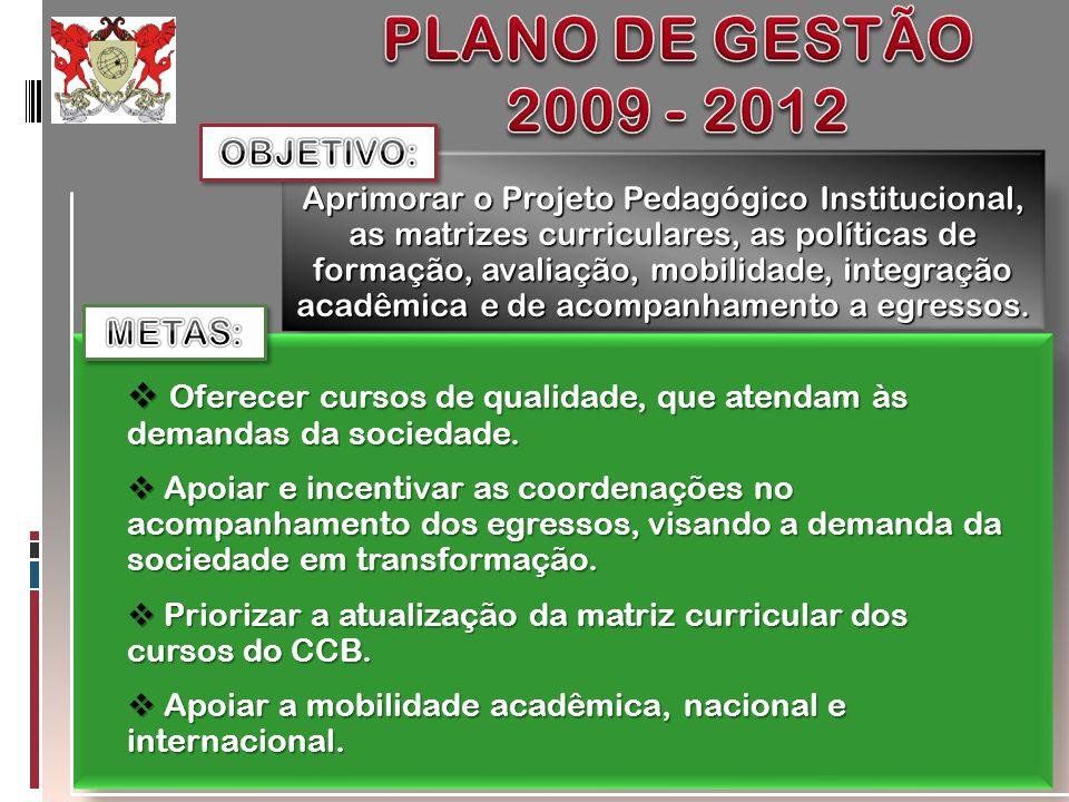 Aprimorar o Projeto Pedagógico Institucional, as matrizes curriculares, as políticas de formação, avaliação, mobilidade, integração acadêmica e de aco
