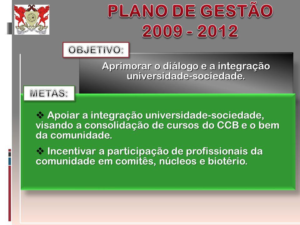 Aprimorar o diálogo e a integração universidade-sociedade. Apoiar a integração universidade-sociedade, visando a consolidação de cursos do CCB e o bem