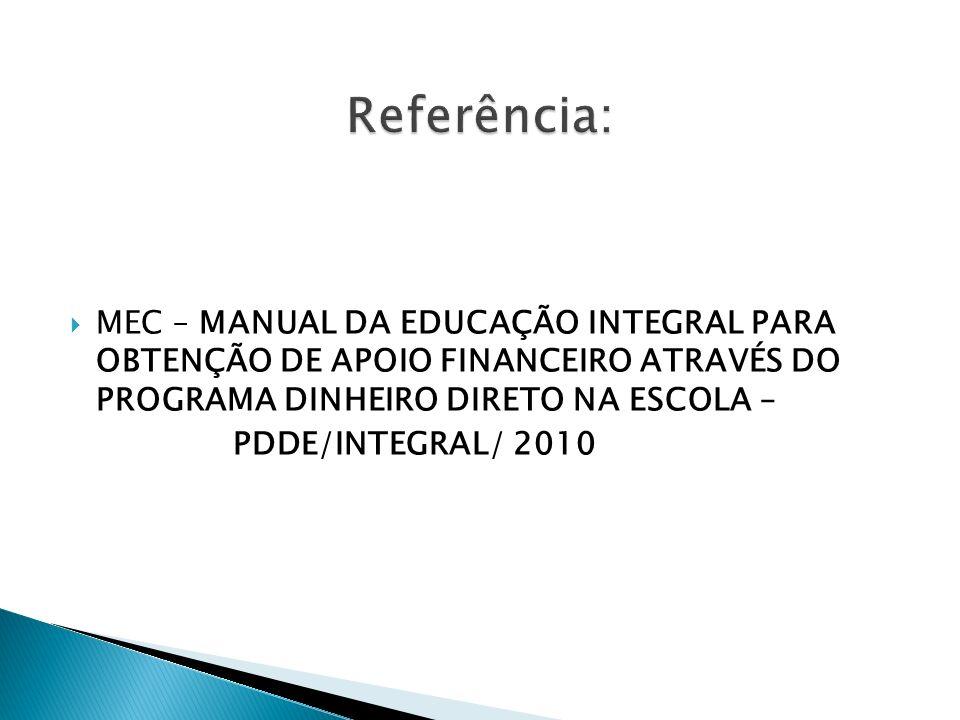 MEC – MANUAL DA EDUCAÇÃO INTEGRAL PARA OBTENÇÃO DE APOIO FINANCEIRO ATRAVÉS DO PROGRAMA DINHEIRO DIRETO NA ESCOLA – PDDE/INTEGRAL/ 2010