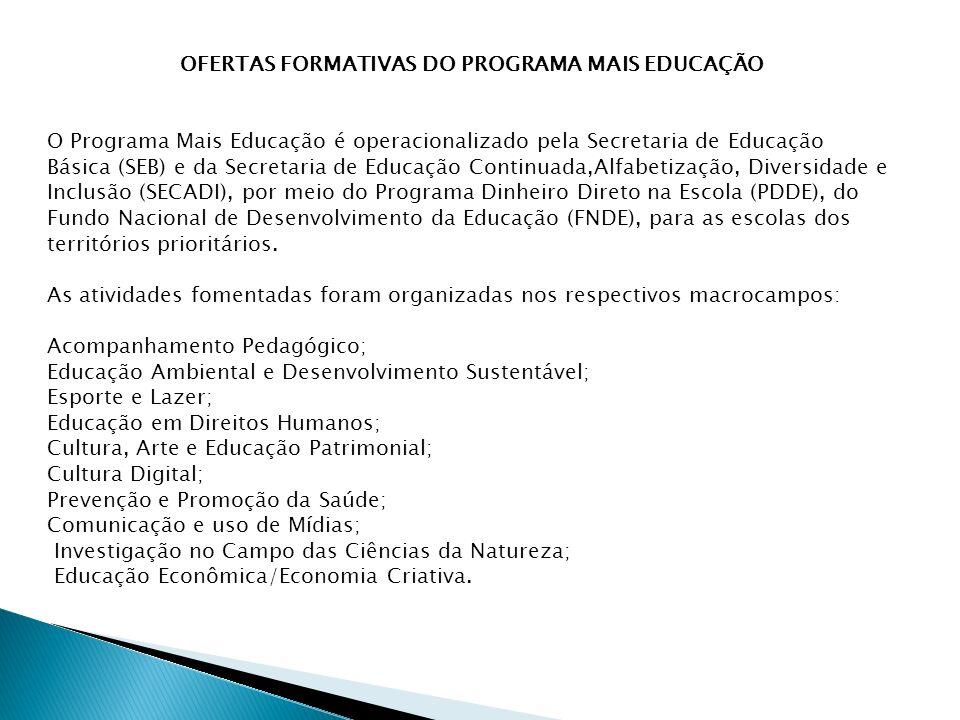 OFERTAS FORMATIVAS DO PROGRAMA MAIS EDUCAÇÃO O Programa Mais Educação é operacionalizado pela Secretaria de Educação Básica (SEB) e da Secretaria de Educação Continuada,Alfabetização, Diversidade e Inclusão (SECADI), por meio do Programa Dinheiro Direto na Escola (PDDE), do Fundo Nacional de Desenvolvimento da Educação (FNDE), para as escolas dos territórios prioritários.