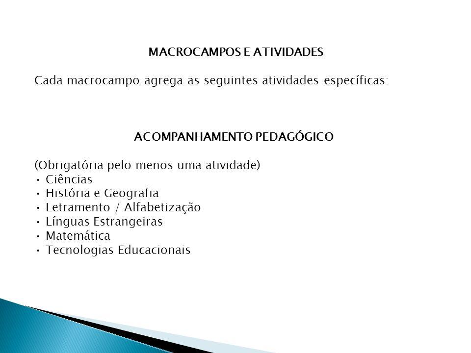MACROCAMPOS E ATIVIDADES Cada macrocampo agrega as seguintes atividades específicas: ACOMPANHAMENTO PEDAGÓGICO (Obrigatória pelo menos uma atividade) Ciências História e Geografia Letramento / Alfabetização Línguas Estrangeiras Matemática Tecnologias Educacionais
