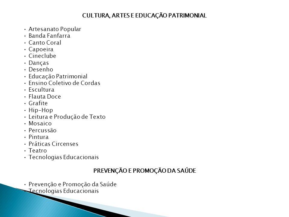 CULTURA, ARTES E EDUCAÇÃO PATRIMONIAL Artesanato Popular Banda Fanfarra Canto Coral Capoeira Cineclube Danças Desenho Educação Patrimonial Ensino Coletivo de Cordas Escultura Flauta Doce Grafite Hip-Hop Leitura e Produção de Texto Mosaico Percussão Pintura Práticas Circenses Teatro Tecnologias Educacionais PREVENÇÃO E PROMOÇÃO DA SAÚDE Prevenção e Promoção da Saúde Tecnologias Educacionais