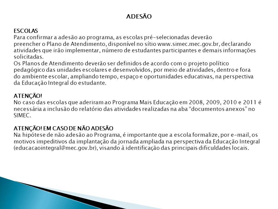 ADESÃO ESCOLAS Para confirmar a adesão ao programa, as escolas pré-selecionadas deverão preencher o Plano de Atendimento, disponível no sítio www.sime