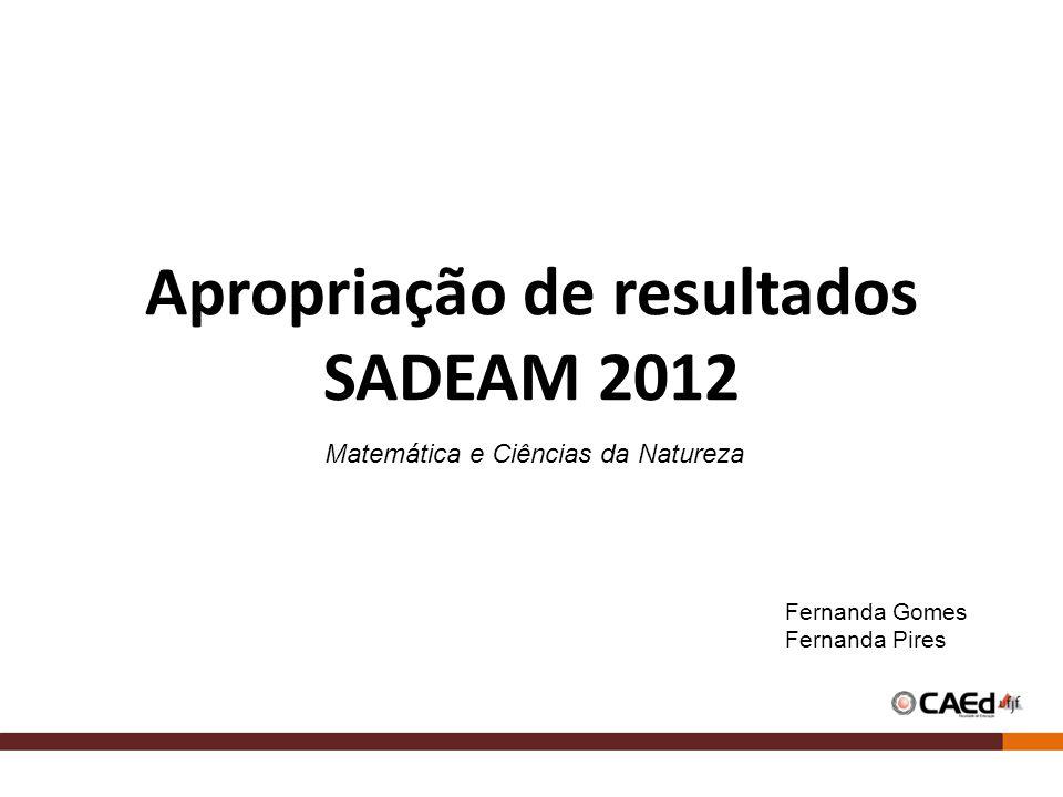 Apropriação de resultados SADEAM 2012 Matemática e Ciências da Natureza Fernanda Gomes Fernanda Pires