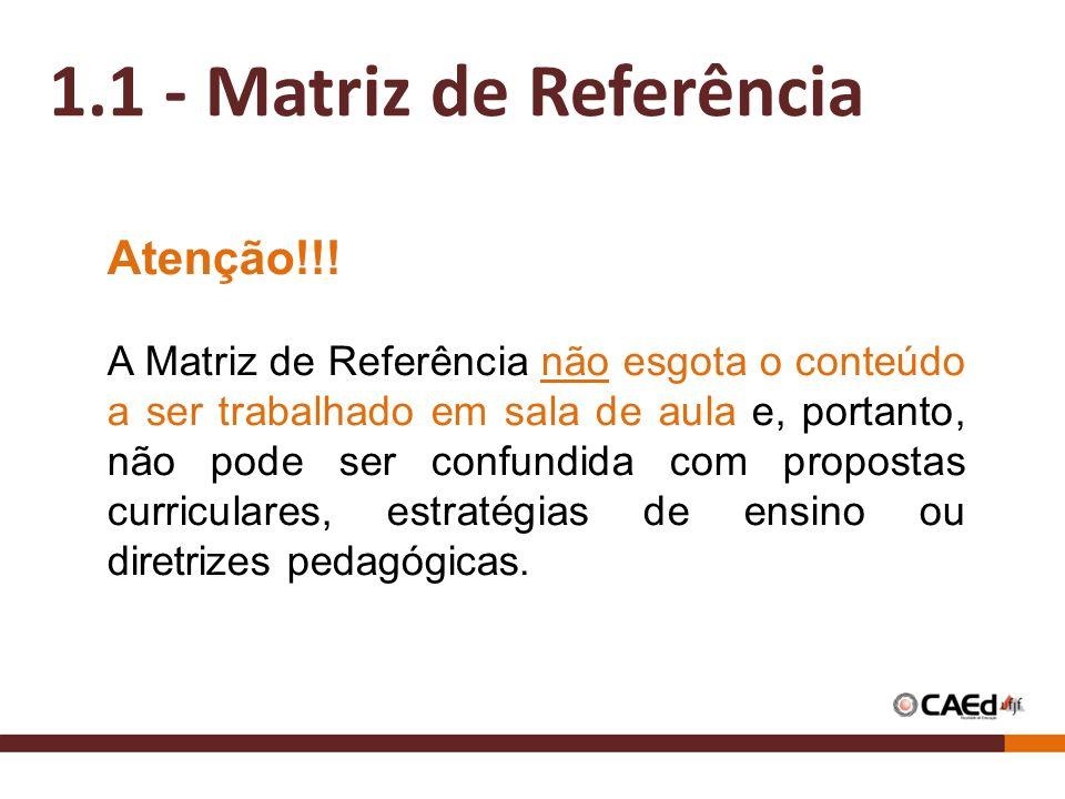 4 1.1 - Matriz de Referência Atenção!!! A Matriz de Referência não esgota o conteúdo a ser trabalhado em sala de aula e, portanto, não pode ser confun