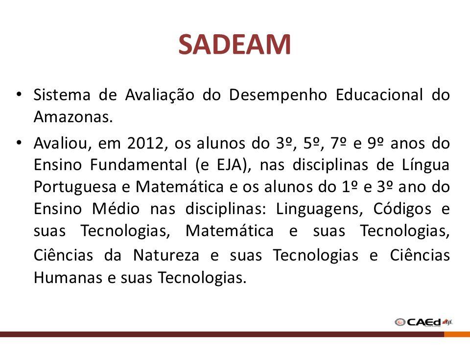 SADEAM Sistema de Avaliação do Desempenho Educacional do Amazonas. Avaliou, em 2012, os alunos do 3º, 5º, 7º e 9º anos do Ensino Fundamental (e EJA),