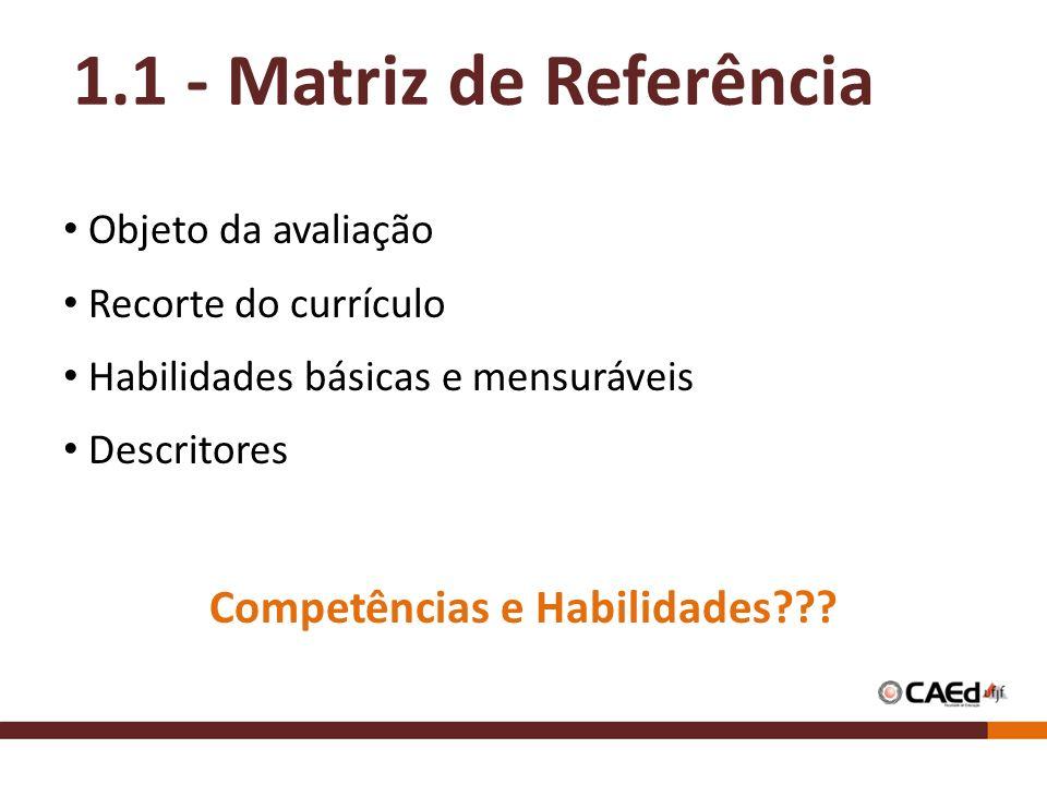 Objeto da avaliação Recorte do currículo Habilidades básicas e mensuráveis Descritores Competências e Habilidades??? 1.1 - Matriz de Referência