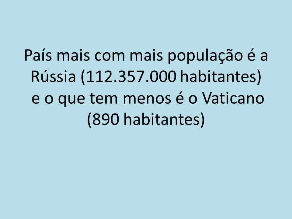 País mais com mais população é a Rússia (112.357.000 habitantes) e o que tem menos é o Vaticano (890 habitantes)